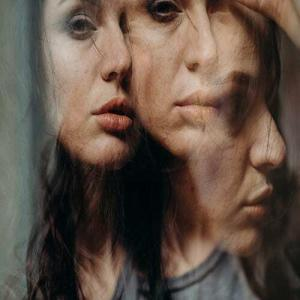 Depiction of a bipolar woman with fluctuating states of mind