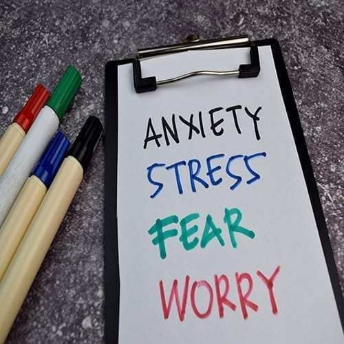 Anxiety, Stress, Fear, Worry write on sticky notes isolated on Office Desk.
